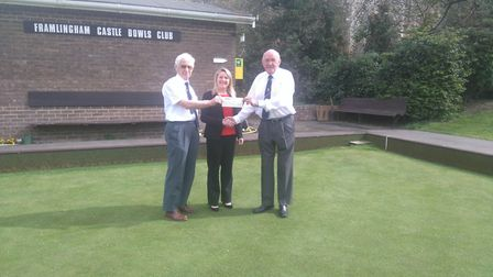 PICTURED: Terry Guilder and Dudley Page from Framlingham Castle Bowls Club receive their Community C