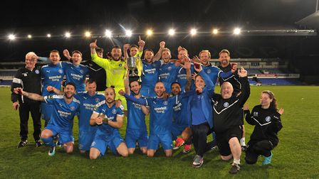 Leiston are crowned winners of the Suffolk Premier Cup Final. Picture: SARAH LUCY BROWN