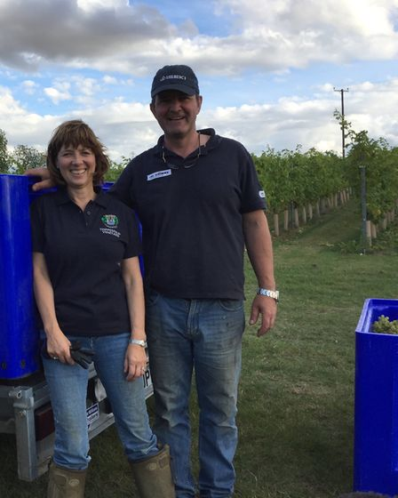 Jane and Peter Moore of Toppesfield Vineyard, Halstead. Picture: TOPPESFIELD VINEYARD