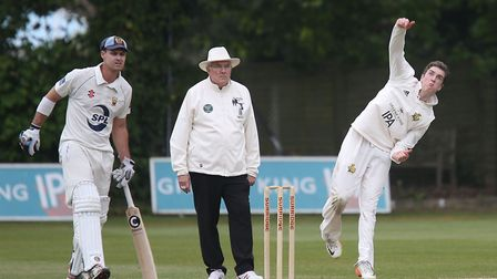 Josh Cantrell, bowling here for Bury, will be in action for Suffolk this weekend. Picture: RICHARD M