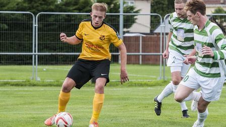 Shaun Avis playing for Mildenhall Town against Framlingham. He has been selected to get his name on