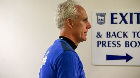 Town manager Mick McCarthy leaves the press room following his announcement that the Ipswich Town v