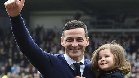 Jack Ross celebrates with one of his two young daughters after St Mirren sealed their Scottish Champ