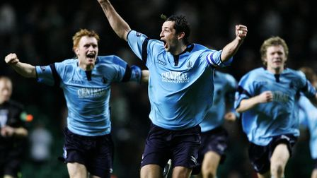 Ross (centre), then of Falkirk, celebrates beating Celtic in the CIS Insurance Cup quarter final mat