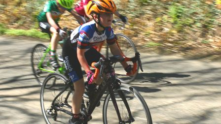 Abbey Thompson (Ipswich Velo) on her way to a stage win on the Isle of Man Under. Picture: IPSWICH V