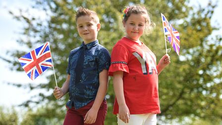 Tyler and Rosie played the roles of Prince Harry and Megan at their tea party. Picture: SARAH LUCY