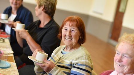 Villagers enjoyed their afternoon tea at the party. Picture: SARAH LUCY BROWN