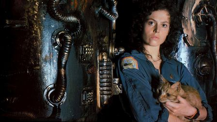 Sigourney Weaver as Ripley in the female led science fiction action movie Alien, being shown as part