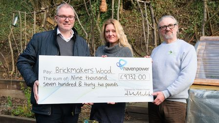 Haven Power Brickmakers' Wood charity presentation Paul Sheffield (Haven Power), Jo Brooks, Rob Br