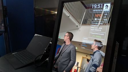 """Demo """"Smart mirror"""": shows live weather and traffic information, as well as live streamed snippets f"""