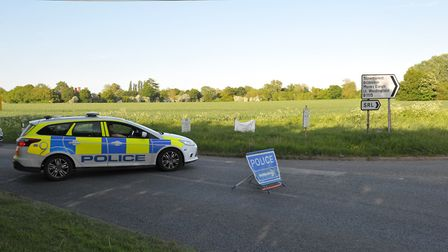 Police have blocked off the B1071. Picture: SARAH LUCY BROWN