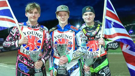 British Under 21 champion Dan Bewley (centre) flanked by runner-up Tom Brennan (right of pic) and th