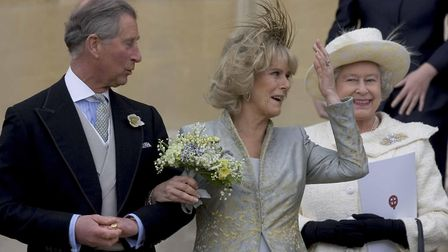 The Prince of Wales and his bride Camilla, Duchess of Cornwall leave St George's Chapel in Windsor,