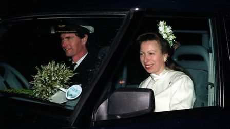 Commander Tim Laurence and the Princess Royal (formerly Princess Anne) smile after their marriage at