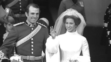 Princess Anne (later the Princess Royal) and Captain Mark Phillips leave the West Door after their w