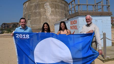 Danny Ayling from the Beach Patrol, Yana Humphreys and Lauren Fraser from the Tendring District Coun