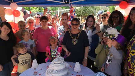Mayor of Ipswich Jane Riley cuts the cake at the street party Picture: ADAM HOWLETT
