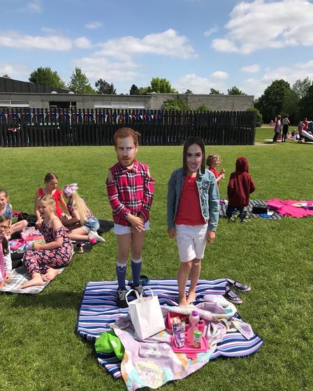 Children at Wells Hall Primary School enjoyed a sunny picnic to celebrate the royal wedding Picture: