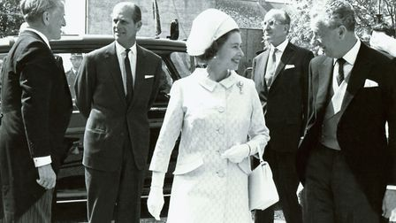 The Queen visits the restored Snape Maltings Concert Hall in June 1970. The Queen is accompanied by