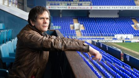 Peter Peverley, who will be plays Bobby Robson, soaking up the atmosphere at Portman Road in prepara