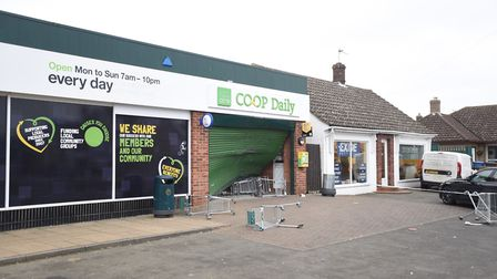 The scene of a ram raid at the East of England Co-op in Great Cornard. Picture: ARCHANT