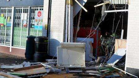 The scene of the ram raid at the Co-op Village Shop in Hall Street, Long Melford Picture: ANDY ABBO