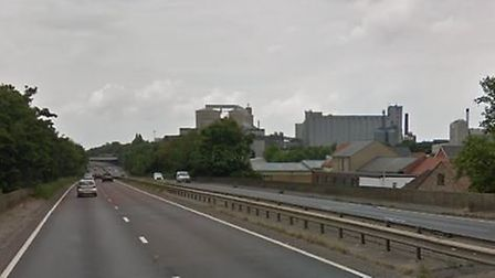 The accident happened between junctions 43 and 44 of the A14 in Bury St Edmunds. Picture: GOOGLE