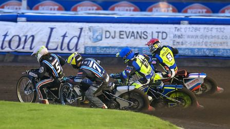 Lakeside's Richard Lawson (white helmet) and Alfie Bowtell (yellow) inside Danyon Hume (blue) and Ro