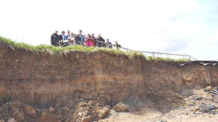 Looking at the site of the sea wall project, members of the Naze Management Board. Picture: WILL LOD