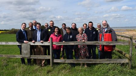 Members of the Naze Management Board at the site of the sea wall project. Picture: WILL LODGE/TDC