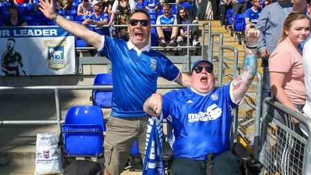Fans celebrate at the Ipswich Town v Middlesbrough (Sky Bet Championship) match. Picture: STEVE W