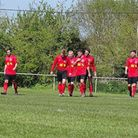Leiston St Margarets players celebrate Chris Palmer's (third from left) stunning opener in their fin