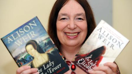 Alison Weir, pictured with some of her other titles, will be visiting Woodbridge next month. Pictur