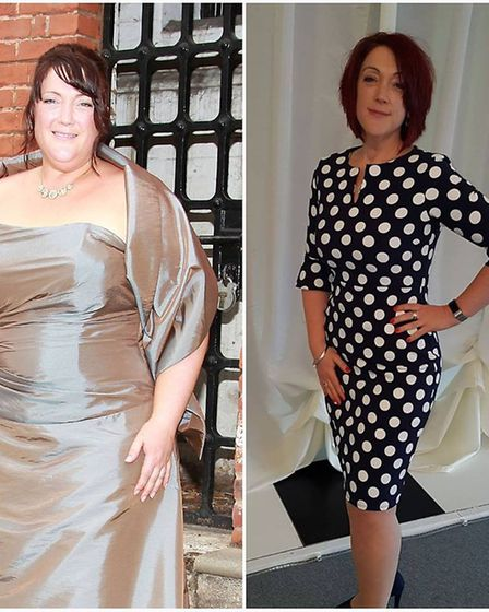 Alison Gardiner before and after her dramatic weight loss; at her brother's weding in 2011, and at t