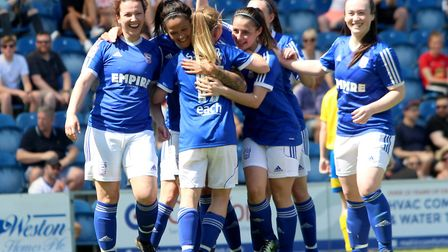 Ipswich Town players celebrate one of Natasha Thomas' two goals in their 5-1 win over AFC Sudbury in