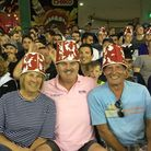 Don Topley, centre, was impressed by the Big Bash League in Australia - here he is as a 'buckethead'