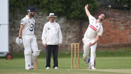 Sudbury's opening bowler, Jonny Gallagher, who took three early wickets in the big win at Burwell &