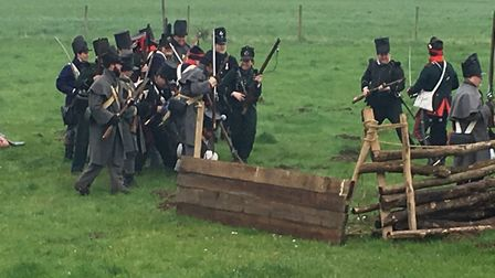 The French soldiers firing rounds in the 95th Rifles Regiment of Foot's re-enactment of the Battle o