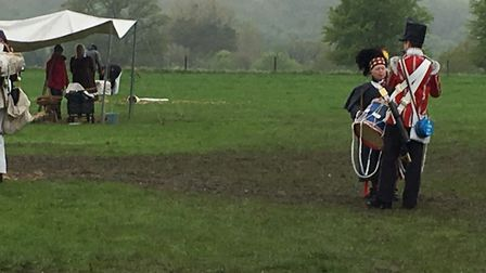 A quiet momemt away from the conflict in the 95th Rifles Regiment of Foot's re-enactment of the Batt