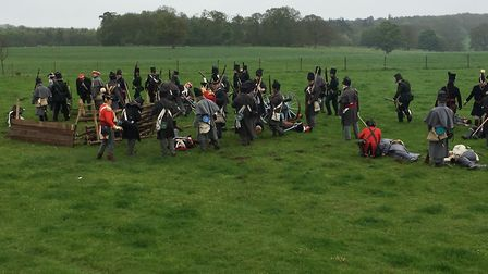 The British and French soldiers engage in the 95th Rifles Regiment of Foot's re-enactment of the Bat