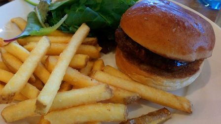 Child's burger and chips.