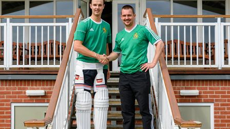 Bury St Edmunds captain, Sean Park, right, welcoming Murray Commins as the club's overseas player fo