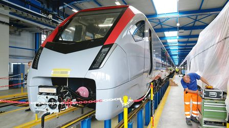 One of the new Bi-mode trains nearing completion at Stadler's Swiss factory. Picture: NICK STRUGNELL