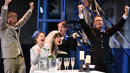 Wedding day celebrations as Ipswich score in the FA Cup final in Our Blue Heaven, by Peter Rowe, at