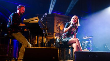 Kerry Ellis performing at theUnion Chapel in London on the first night of her 20th Anniversary Tour.