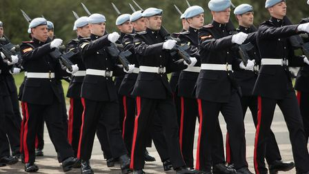 3 Regiment Army Air Corps practise marching at Wattisham Airfield in Suffolk as they prepare for the