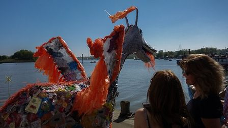 Scruff the Plastic Dragon made by Wildlife Gadget Man Jason Alexander. Picture: CHRIS MAPEY