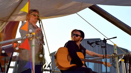 Woodbridge Mayor Clare Perkins speaks before music at the Beowulf Festival. Picture: CHARMIAN BERRY