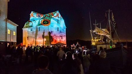 The projections were accompanied by music by Woodbridge's Jan Pulsford. Picture: CHRIS MAPEY