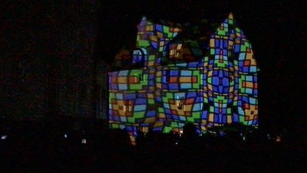 The Tide Mill is lit up for the Beowulf Festival. Picture: CHRIS MAPEY